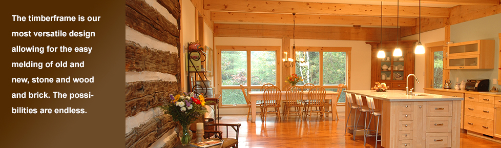 Timberframe kitchen and dining room