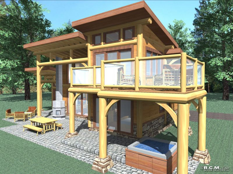 Davidson log homes contemporary for Square log cabin plans