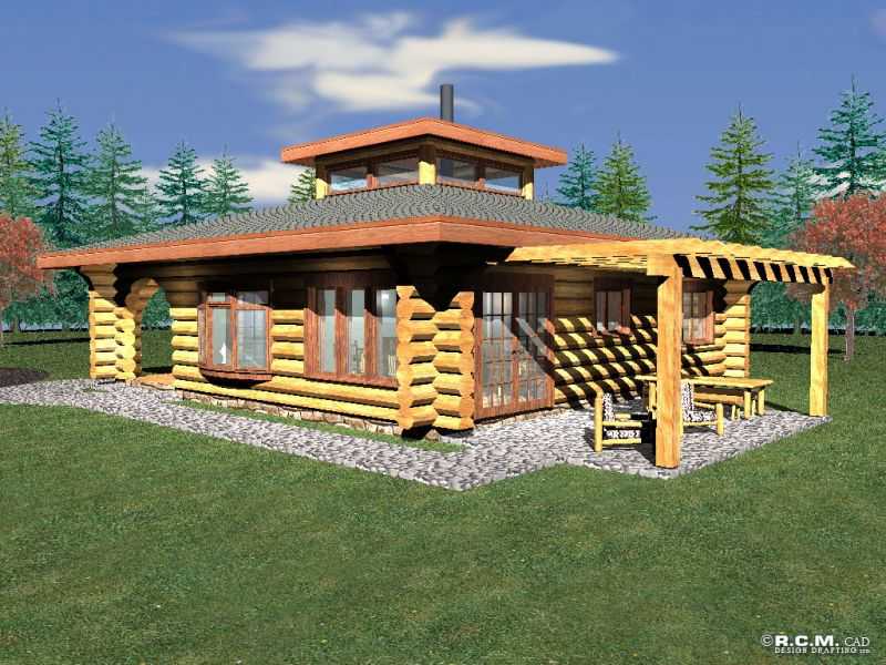 Log cabin plans under 500 square feet for Cottages under 1000 sq ft
